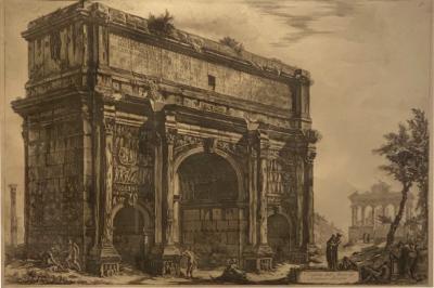 Piranesi Etching of Arch of Settimio Severo