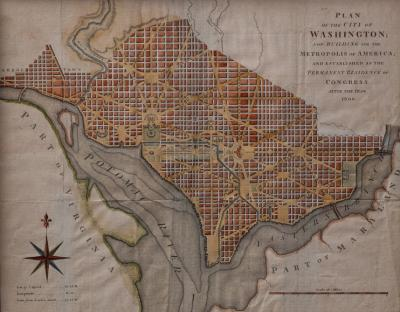Plan of the City of Washington from The Universal Magazine Magazine London 1793