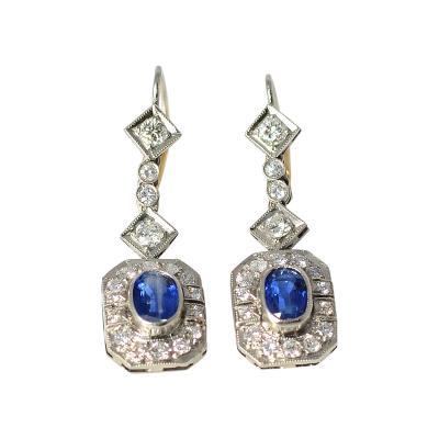 Platinum Art Deco 1 84 CTW Sapphire Earrings with Diamonds