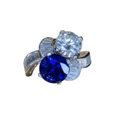 Platinum Art Deco Diamond and NO HEAT Sapphire Ring GIA Cert and AGL Cert