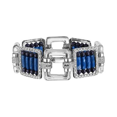 Platinum Bracelet with Diamonds Lapis Lazuli Crystal and Black Enamel