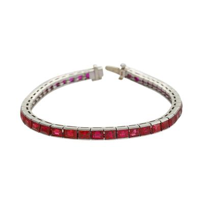 Platinum Bracelet with Rubies