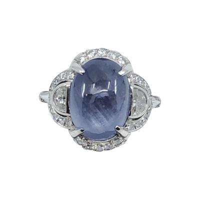 Platinum Cabochon Sapphire ring