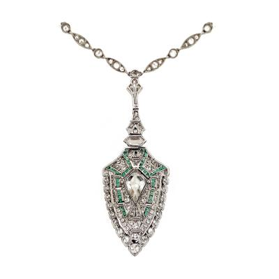 Platinum Diamond Kite Pendant with Emerald Accents