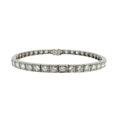 Platinum Diamond Line Bangle 42 stones 5 5 6 cts TDW