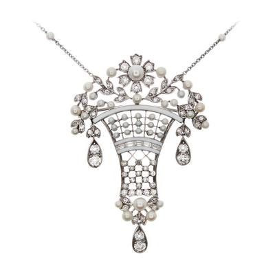 Platinum Diamond Pearl and Enamel Brooch Pendant