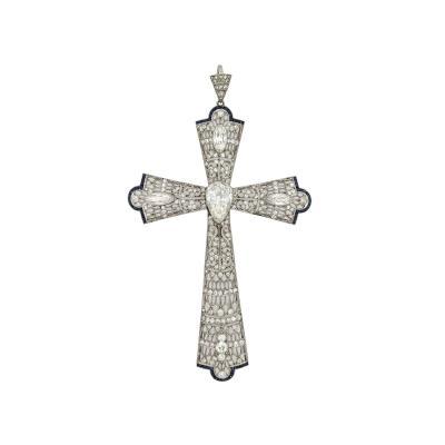 Platinum Diamond Sapphire Filigree Cross Pendant