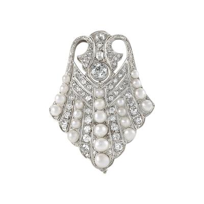 Platinum Diamond and Pearl Art Deco Brooch