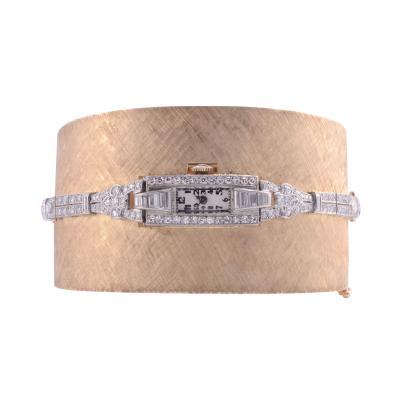 Platinum Gold Diamond Cuff Bracelet Wrist Watch