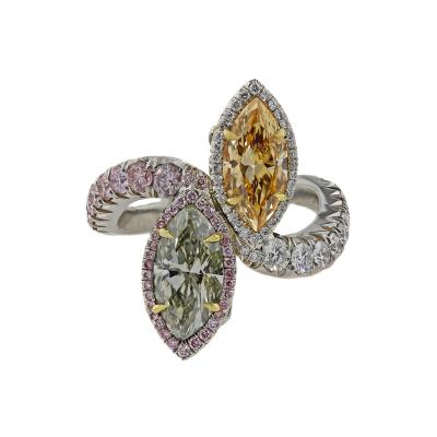 Platinum Statement Ring with Natural Fancy Colored Diamond Marquise