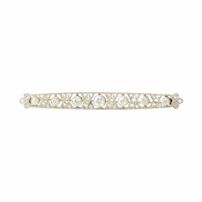Platinum and 18K Gold Edwardian Diamond Bar Pin