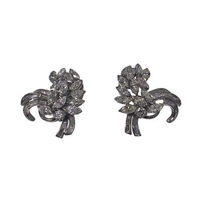 Platinum and Diamond Spray Earrings with Clips C 1960