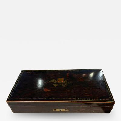 Playing Cards Casket Box Rosewood with Paintings Paris France circa 1920