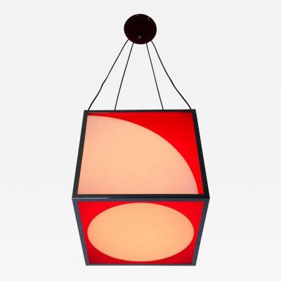 Plexiglass and Varnished Metal Cube Pendant Italy 1970s