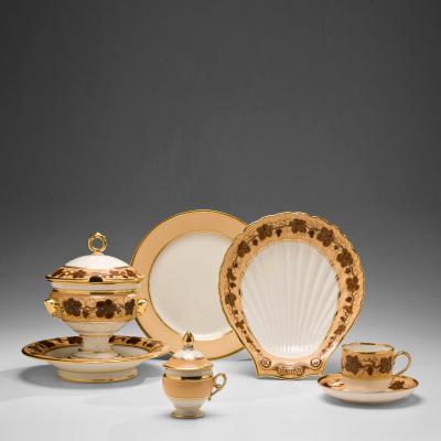 Pochet Deroche Paris Porcelain Partial Dessert Service