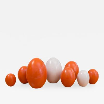 Pol Chambost Set of 8 Ceramic Egg Sculptures
