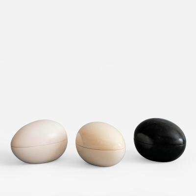 Pol Chambost Trois Oeufs Set of Three Ceramic Egg Boxes