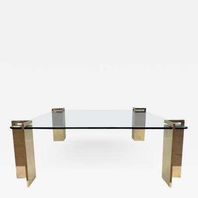 Polished Bronze and Glass Coffee Table