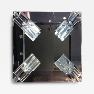 Polished Chrome and Lucite Corner Mirror