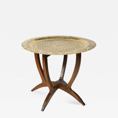 Polished Moroccan Brass Tray Side Table on Spider Leg 1950