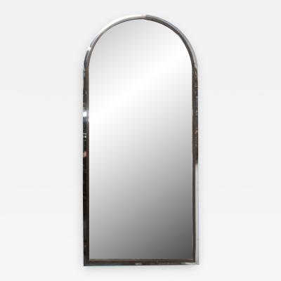 Polished Steel and Brass Arched Shaped Mirror