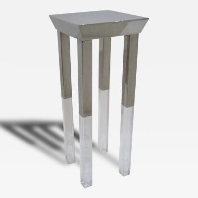 Polished Steel and Lucite Side Table Pedestal Manner of Charles Hollis Jones