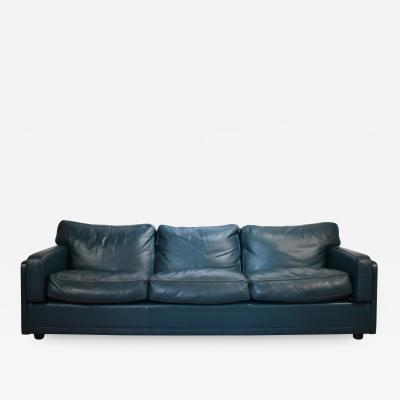 Poltrona Frau Poltrona Frau Socrate Three Seat Sofa in Green Petrol Leather