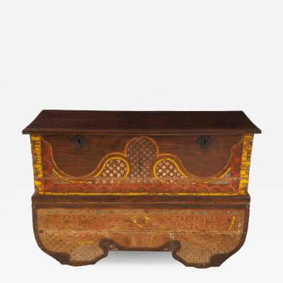 Polychrome Indian Carved Storage Chest Console