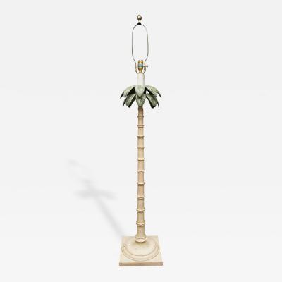 Polychromed Tole Palm Tree Floor Lamp