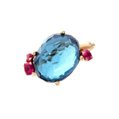 Pomeletto Bahia Topaz Sapphire Gold Ring