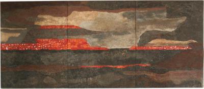 Pomus Large Brutalist Triptych Painting