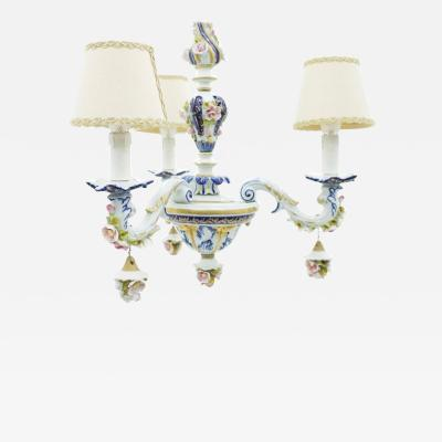 Porcelain Chandelier from Milano Italy 1960s