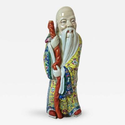 Porcelain Statue of Shou God of Longevity Circa 1940s