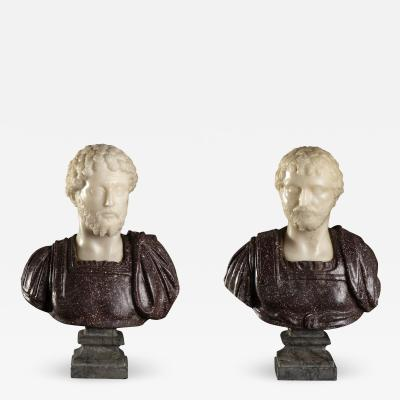 Porphyry and Statuary Marble Pair Sculptures Busts of Roman Emperors Grand Tour