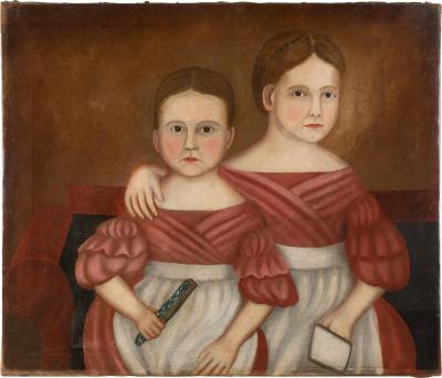 Portrait of Two Seated Sisters