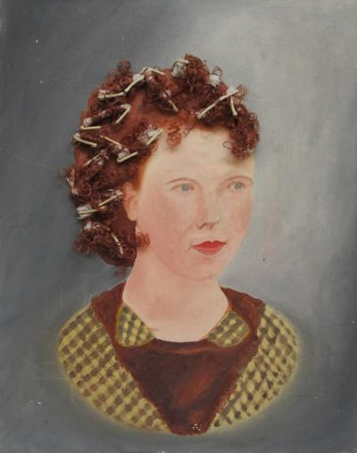 Portrait of a Red Haired Woman with Rollers