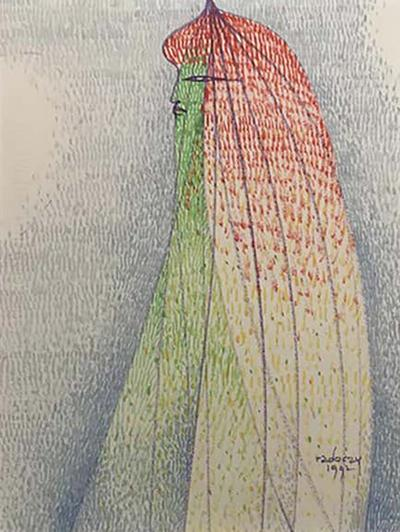 Portrait of a Woman Pointillist Gouache by Albert Radoczy 3