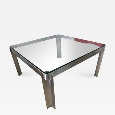 Post Modern Italian Steel and Glass Coffee or Cocktail Table