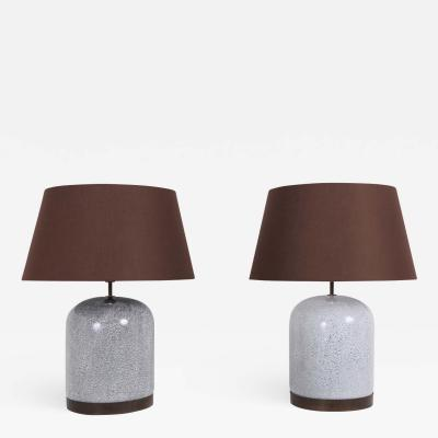 Post Modern Pair of Black White Speckled Ceramic Lamps with Brown Shades