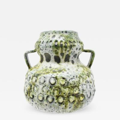 Post War Fat Lava Vase in Green and Off White West Germany