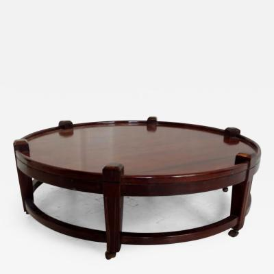 Post War Large Round Coffee Table on Wheels