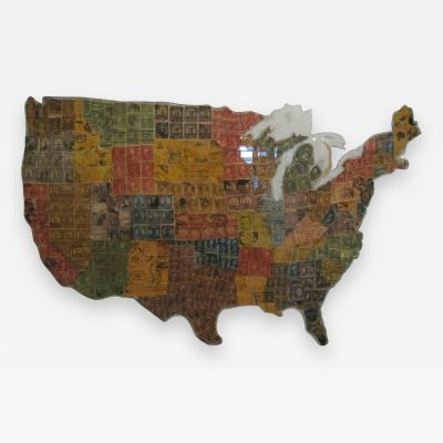 Postage Stamps Map of the United States
