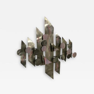 Postmodern Aluminium Wall Sculpture Signed