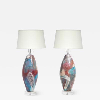 Postmodern Ceramic Table Lamps Lucite Base 1980