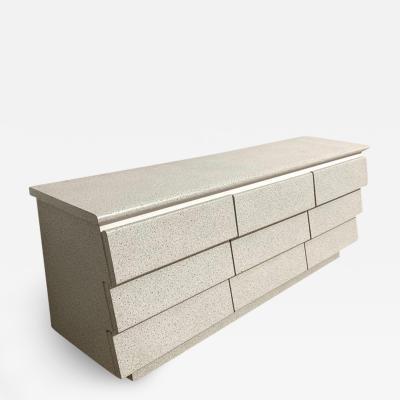 Postmodern Nine Drawer Dresser or Chest of Drawers Granite and White Mica