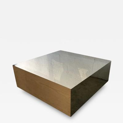 Postmodern Oak and Steel Coffee or Cocktail Table
