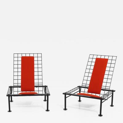 Postmodern Reclining Metal Wire Chairs 1980