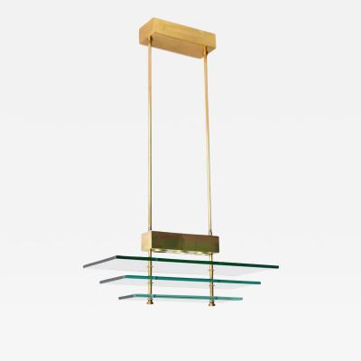 Postmodern Rectangular Form Polished Brass and Glass Pendant Chandelier