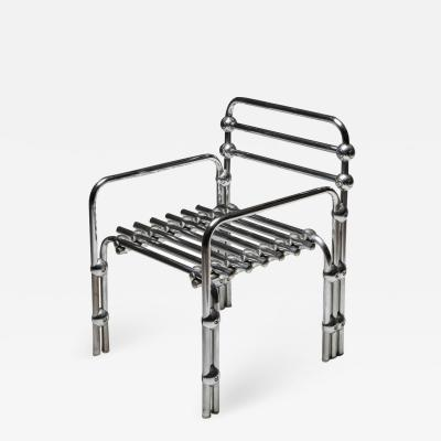 Postmodern Rietveld Style Chromed Metal Lounge Chair 1980s