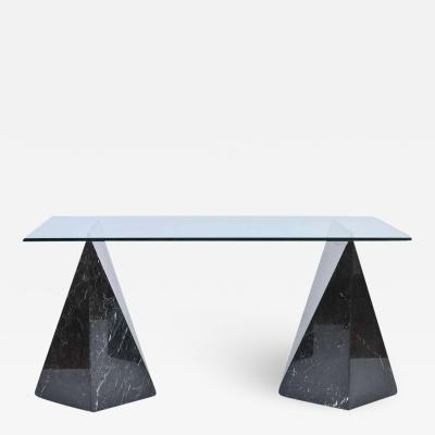 Postmodernist Nero Marquina Marble and Glass Top Table